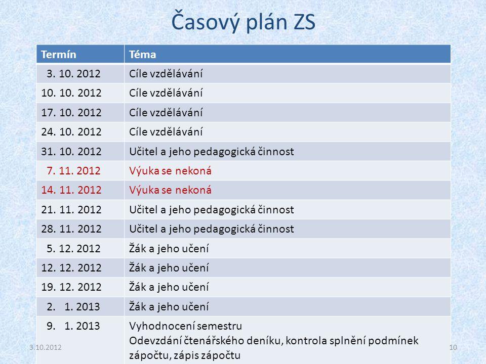Časový plán ZS Termín Téma 3. 10. 2012 Cíle vzdělávání 10. 10. 2012