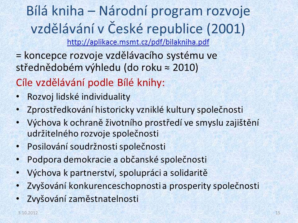 Bílá kniha – Národní program rozvoje vzdělávání v České republice (2001) http://aplikace.msmt.cz/pdf/bilakniha.pdf