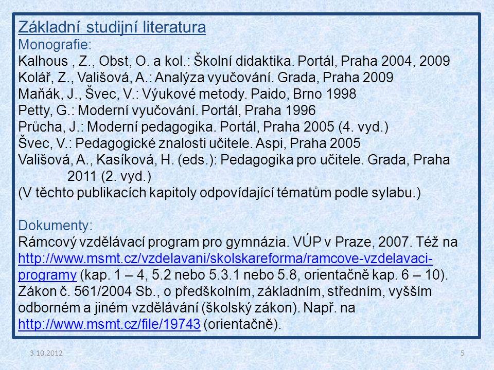 Základní studijní literatura