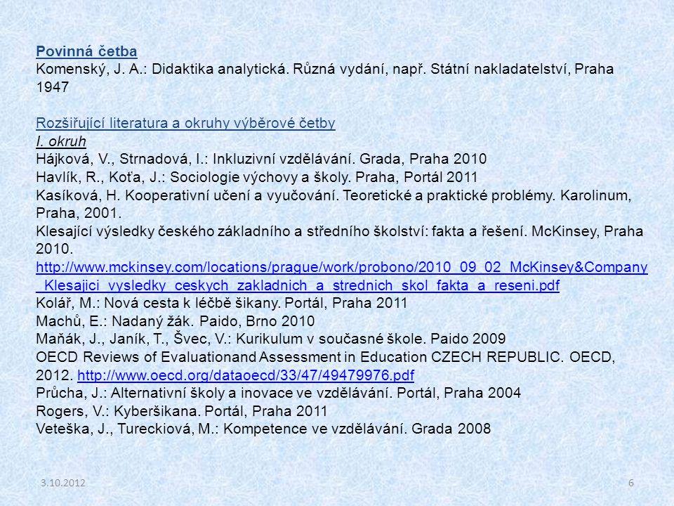 Rozšiřující literatura a okruhy výběrové četby I. okruh