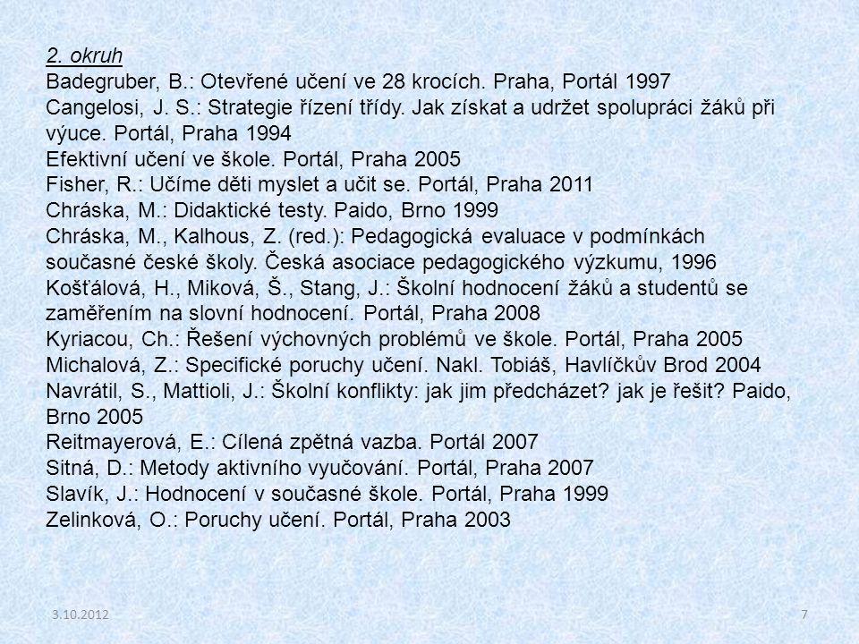 Badegruber, B.: Otevřené učení ve 28 krocích. Praha, Portál 1997
