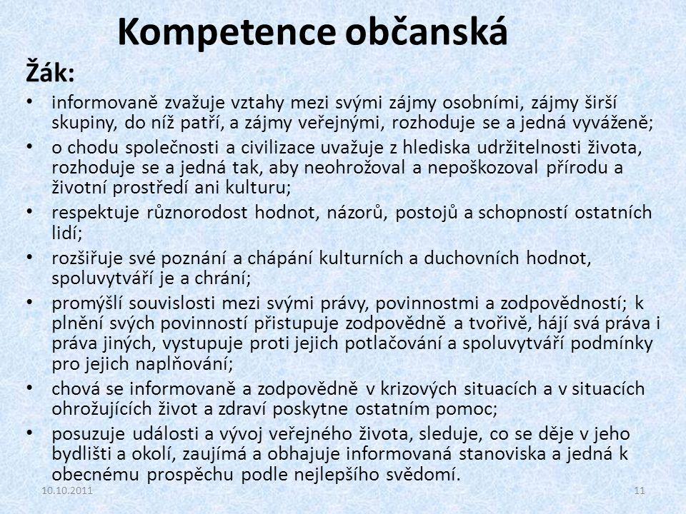 Kompetence občanská Žák: