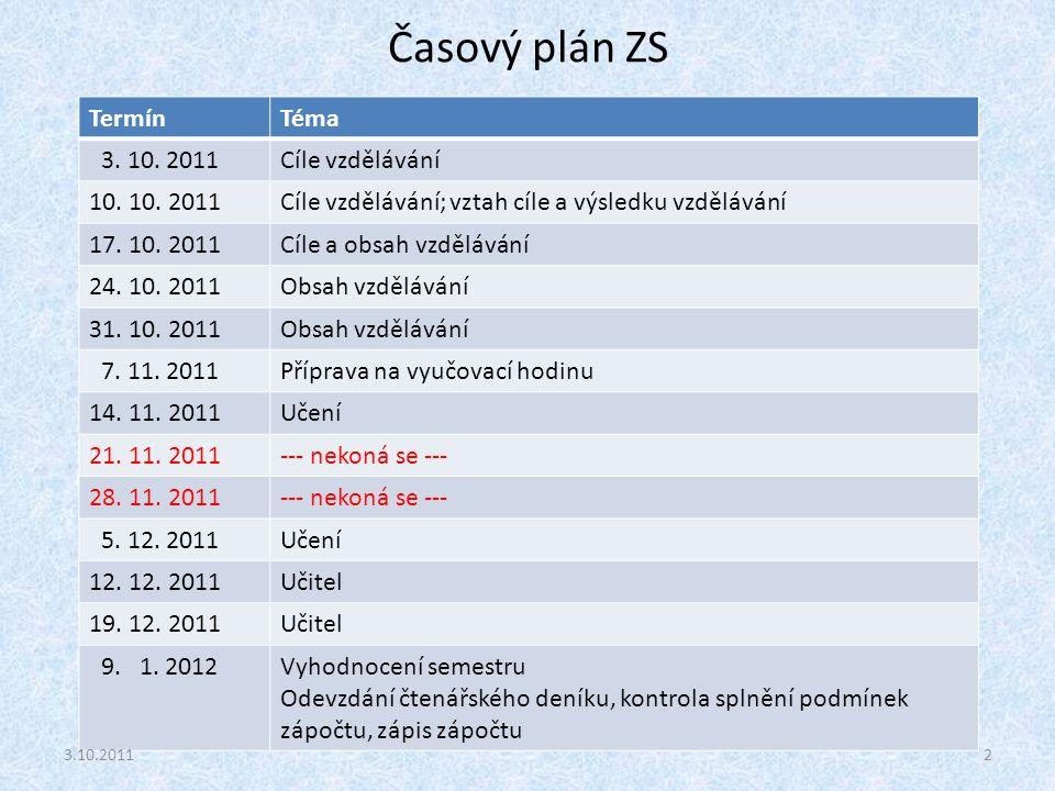 Časový plán ZS Termín Téma 3. 10. 2011 Cíle vzdělávání 10. 10. 2011