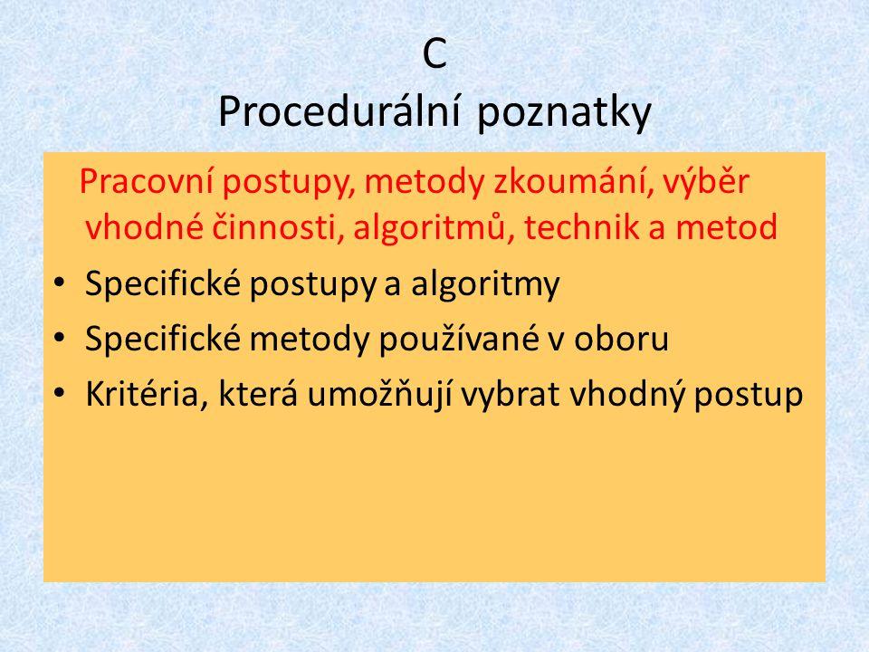 C Procedurální poznatky