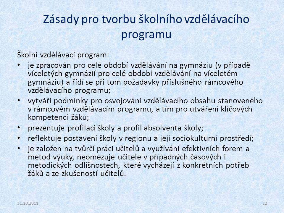 Zásady pro tvorbu školního vzdělávacího programu