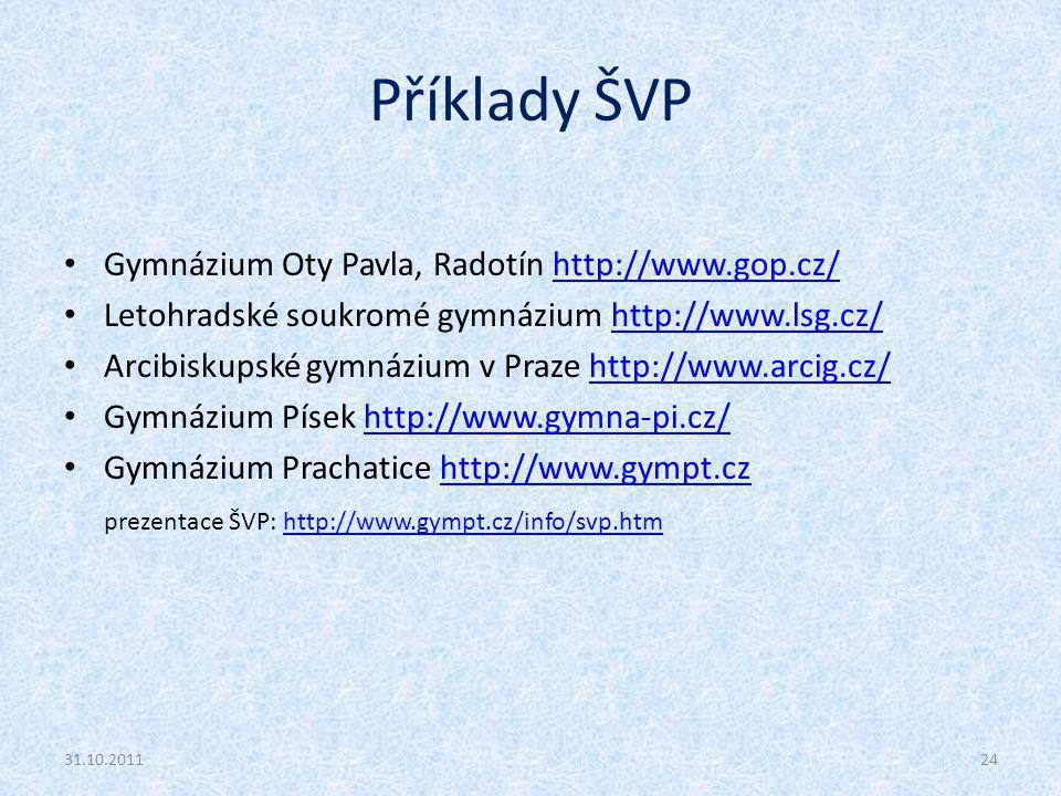 Příklady ŠVP Gymnázium Oty Pavla, Radotín http://www.gop.cz/