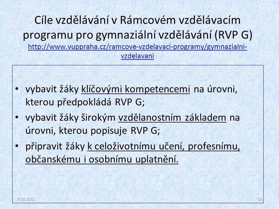 Cíle vzdělávání v Rámcovém vzdělávacím programu pro gymnaziální vzdělávání (RVP G) http://www.vuppraha.cz/ramcove-vzdelavaci-programy/gymnazialni-vzdelavani