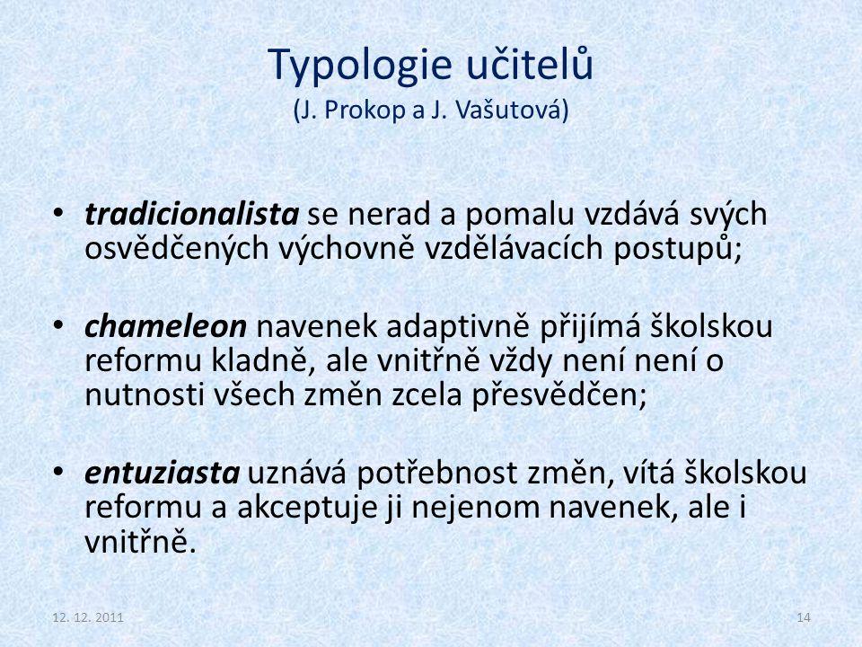 Typologie učitelů (J. Prokop a J. Vašutová)