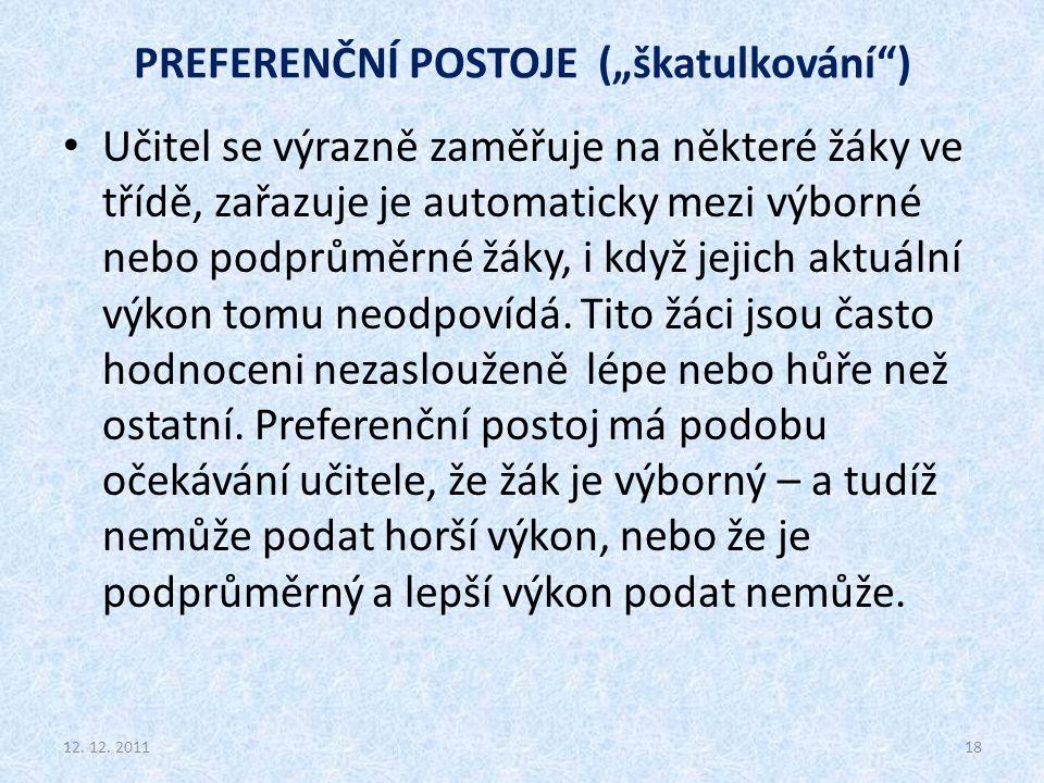 """PREFERENČNÍ POSTOJE (""""škatulkování )"""