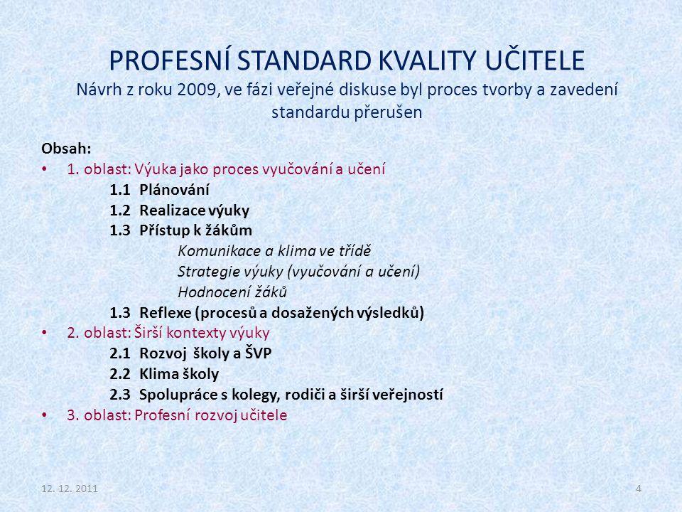 PROFESNÍ STANDARD KVALITY UČITELE Návrh z roku 2009, ve fázi veřejné diskuse byl proces tvorby a zavedení standardu přerušen