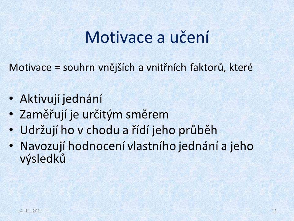 Motivace a učení Aktivují jednání Zaměřují je určitým směrem