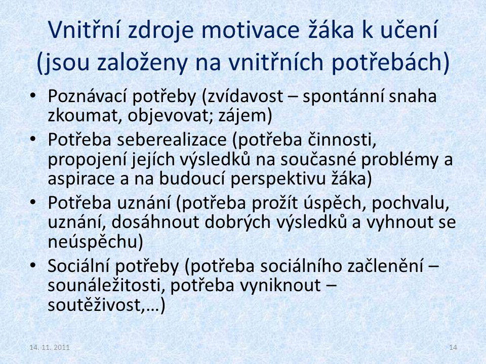 Vnitřní zdroje motivace žáka k učení (jsou založeny na vnitřních potřebách)