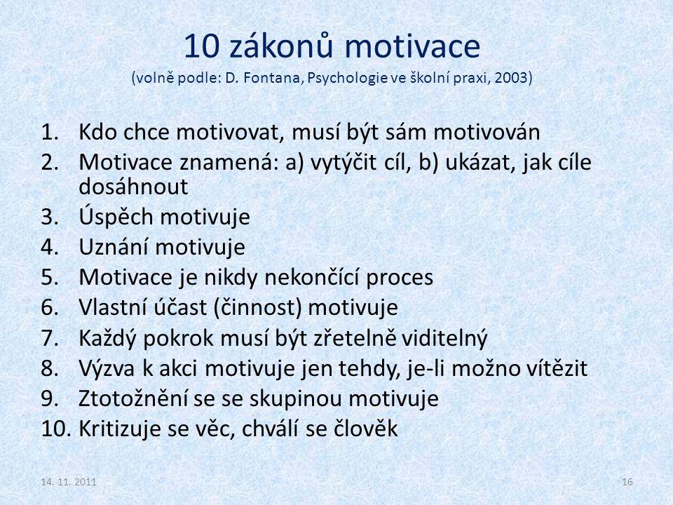 10 zákonů motivace (volně podle: D