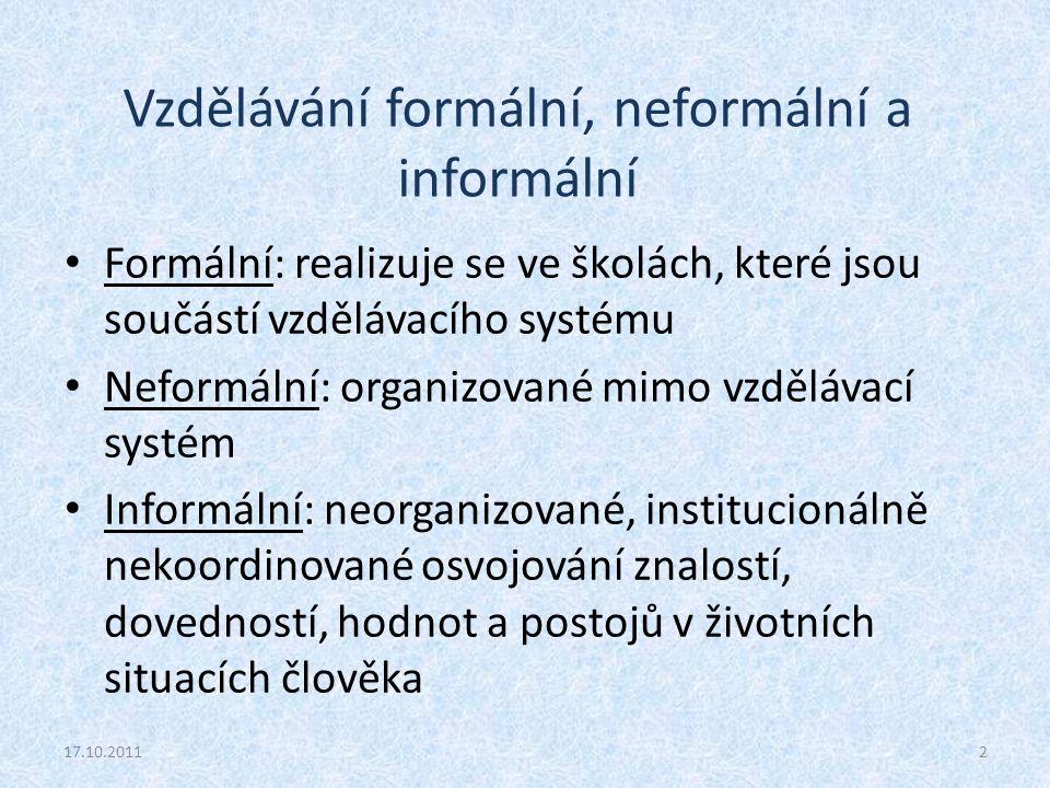 Vzdělávání formální, neformální a informální