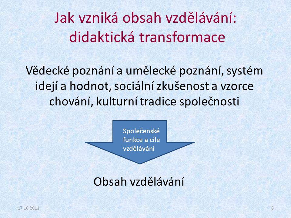 Jak vzniká obsah vzdělávání: didaktická transformace