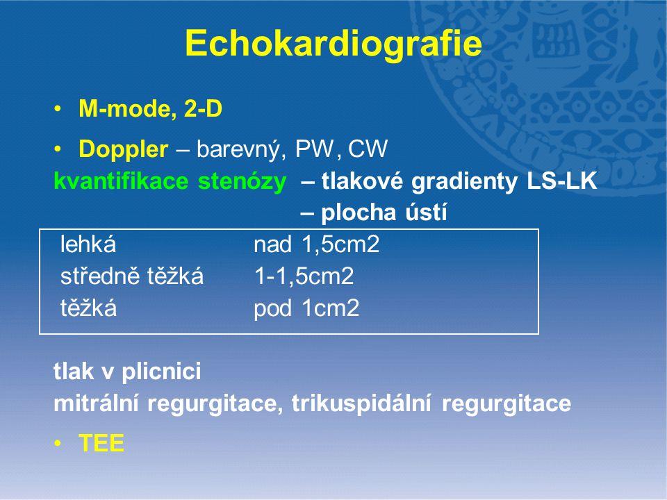 Echokardiografie M-mode, 2-D Doppler – barevný, PW, CW