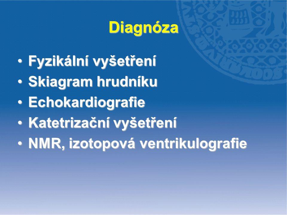 Diagnóza Fyzikální vyšetření Skiagram hrudníku Echokardiografie
