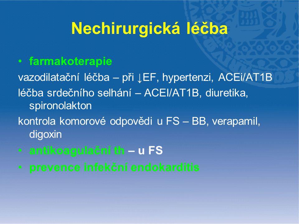 Nechirurgická léčba farmakoterapie antikoagulační th – u FS