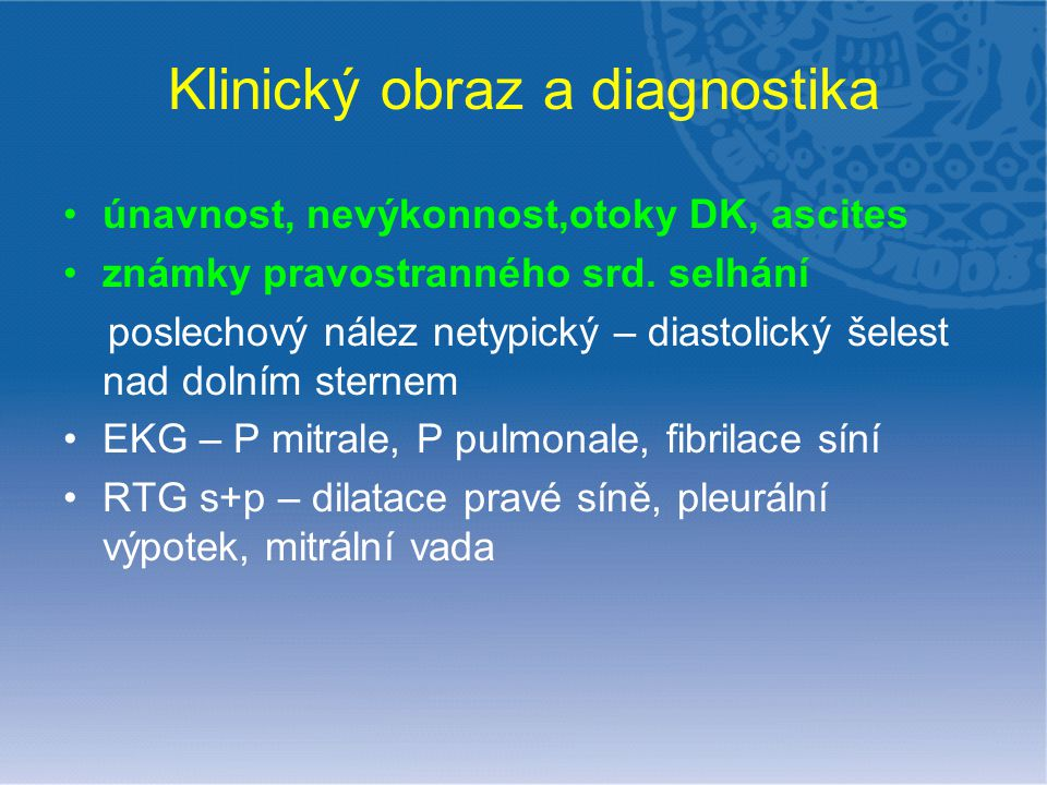 Klinický obraz a diagnostika