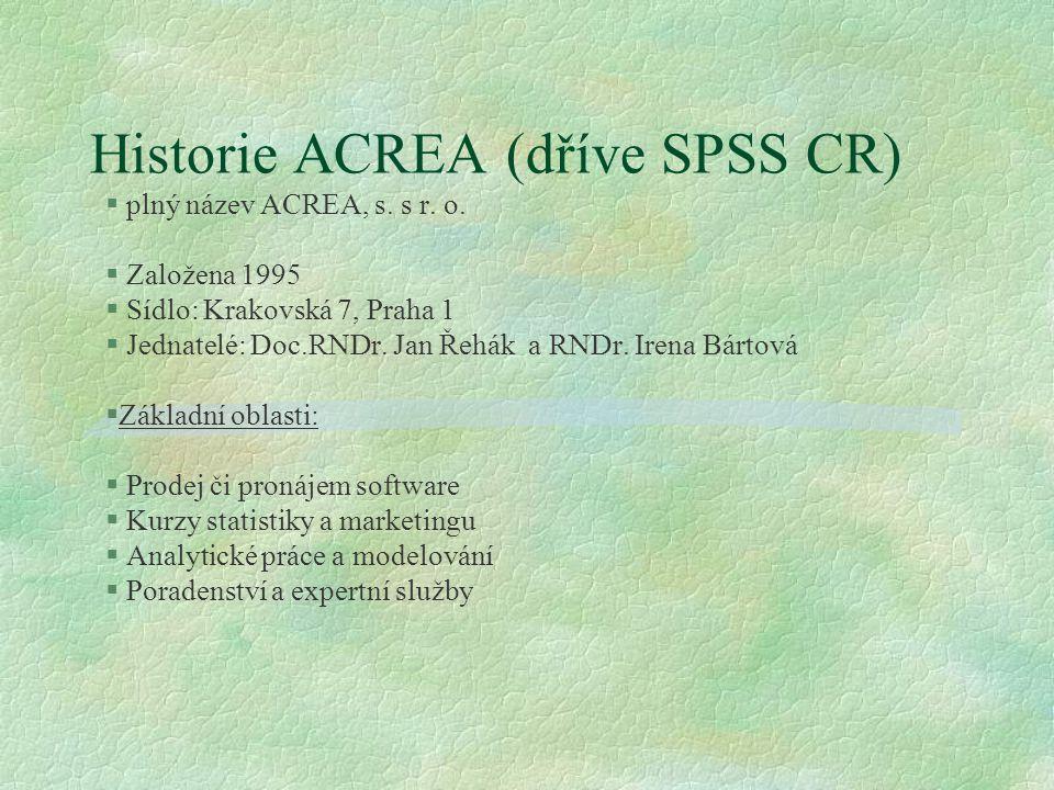 Historie ACREA (dříve SPSS CR)