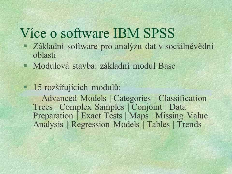 Více o software IBM SPSS