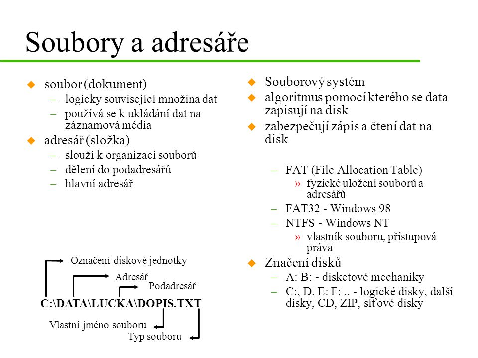 Soubory a adresáře Souborový systém soubor (dokument)
