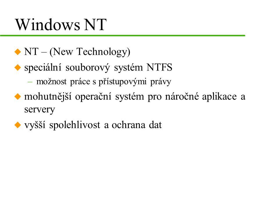 Windows NT NT – (New Technology) speciální souborový systém NTFS