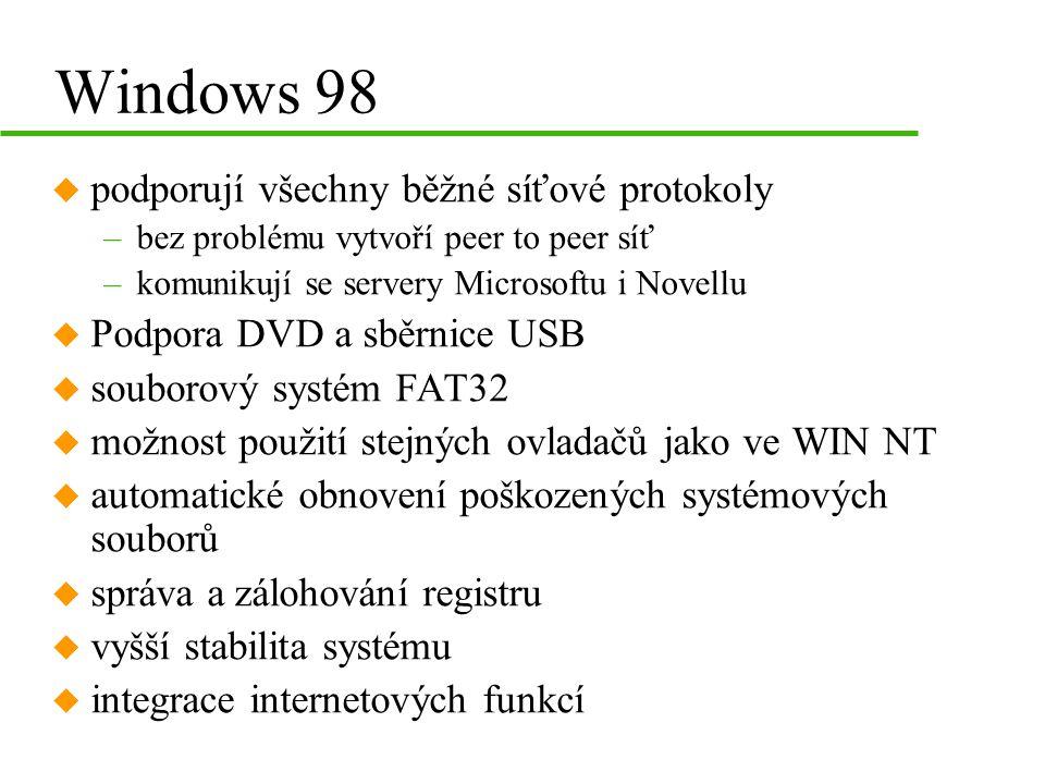 Windows 98 podporují všechny běžné síťové protokoly