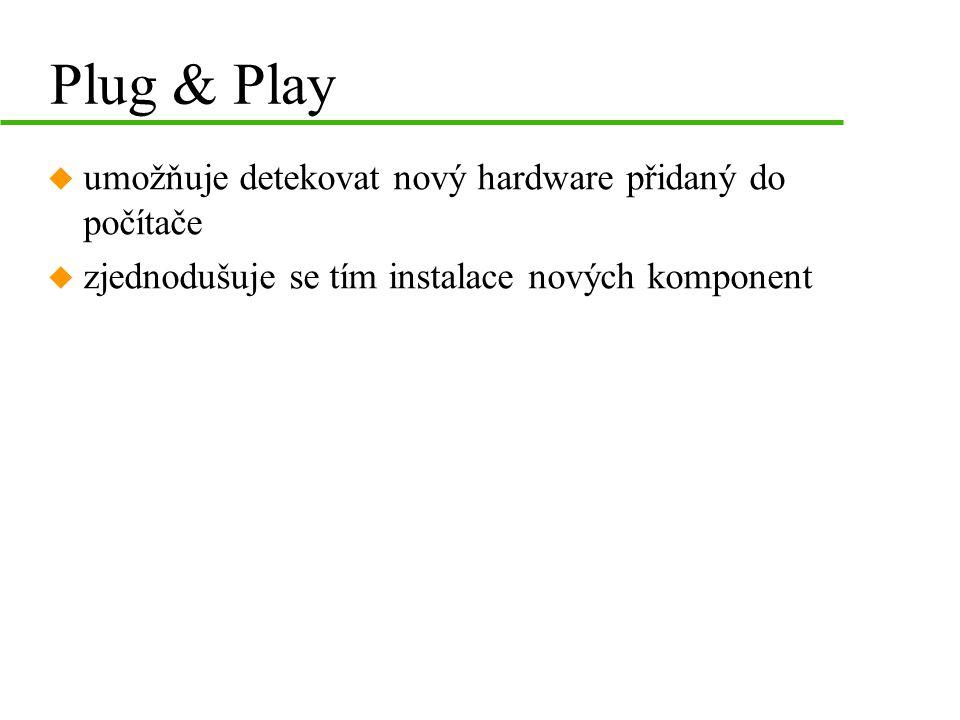 Plug & Play umožňuje detekovat nový hardware přidaný do počítače