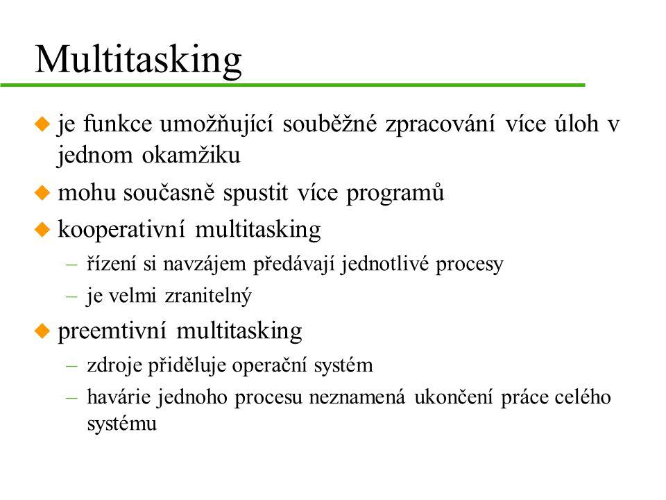 Multitasking je funkce umožňující souběžné zpracování více úloh v jednom okamžiku. mohu současně spustit více programů.