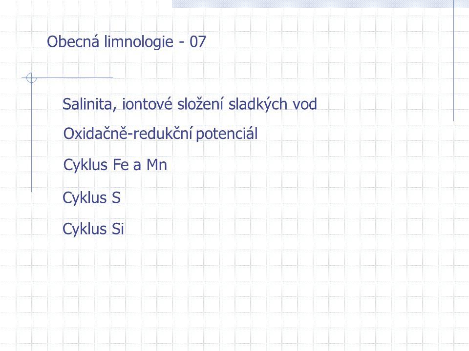 Obecná limnologie - 07 Salinita, iontové složení sladkých vod. Oxidačně-redukční potenciál. Cyklus Fe a Mn.
