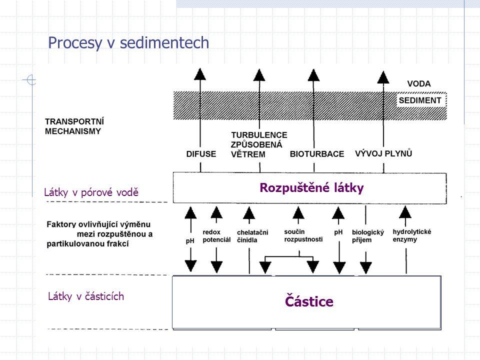Procesy v sedimentech Částice Rozpuštěné látky Látky v pórové vodě