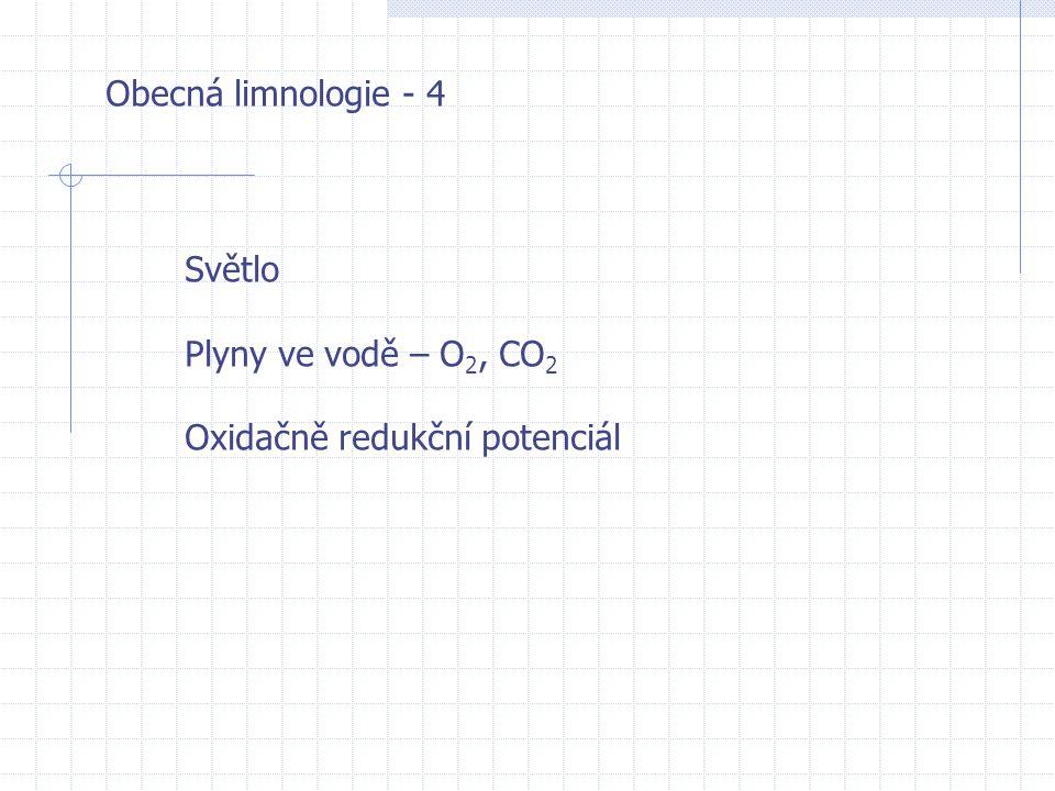 Obecná limnologie - 4 Světlo Plyny ve vodě – O2, CO2 Oxidačně redukční potenciál