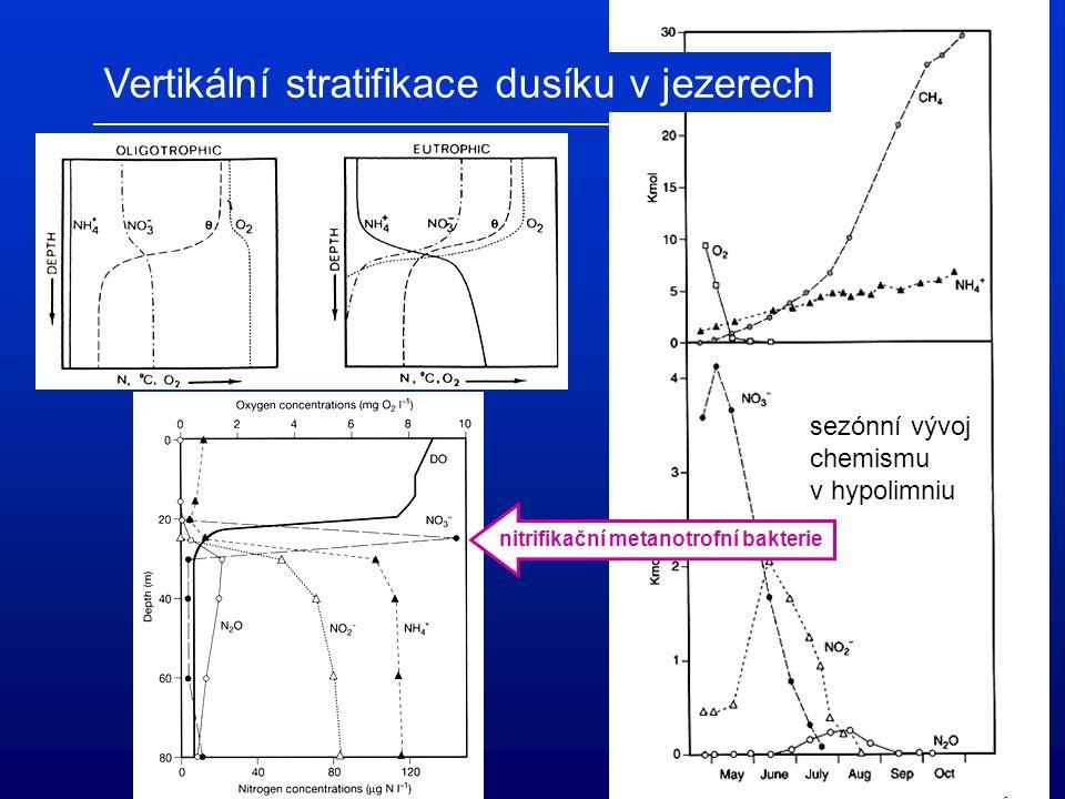 Vertikální stratifikace dusíku v jezerech