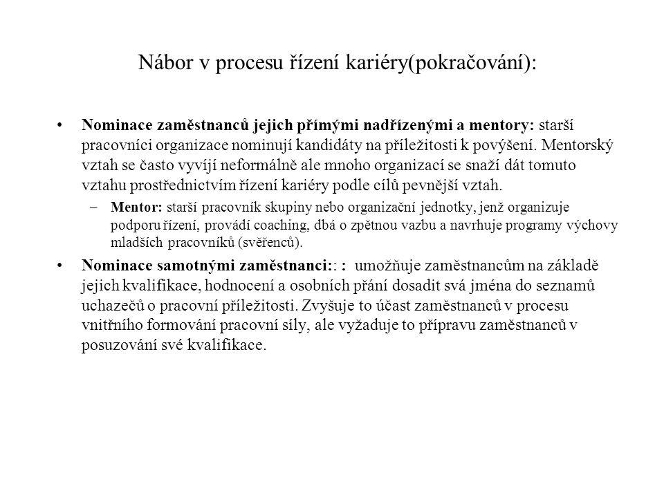 Nábor v procesu řízení kariéry(pokračování):