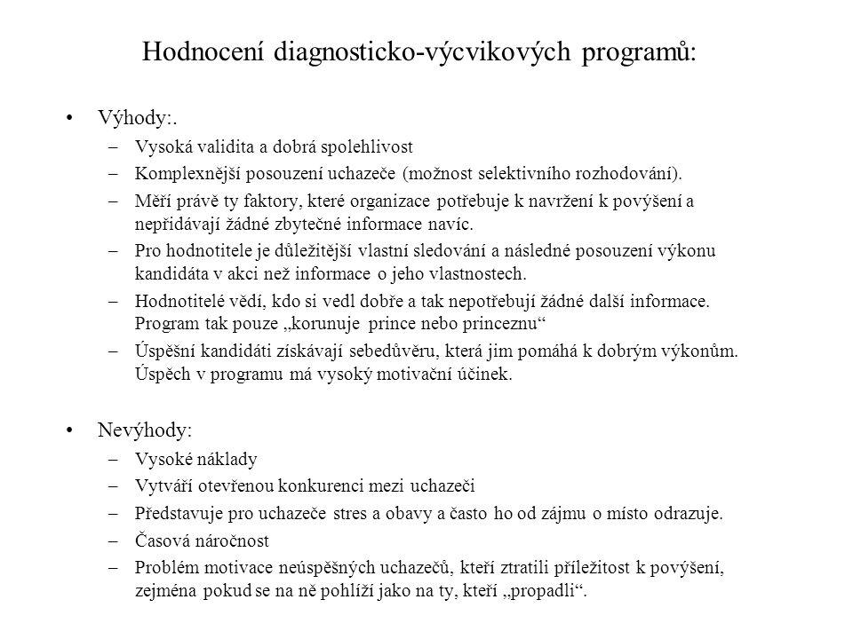 Hodnocení diagnosticko-výcvikových programů: