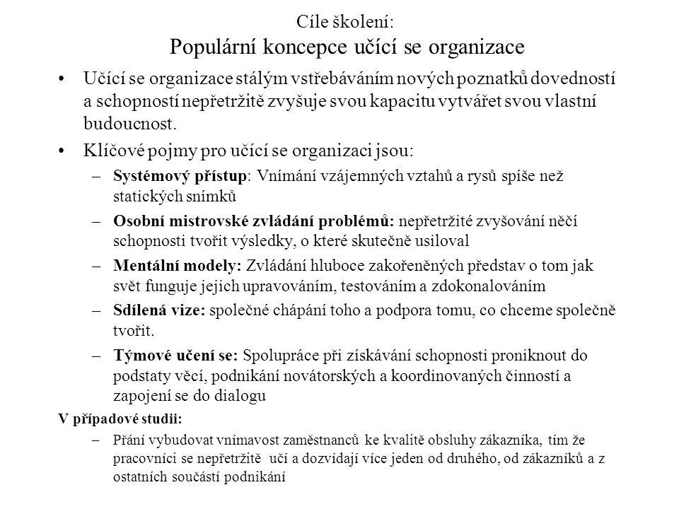 Cíle školení: Populární koncepce učící se organizace