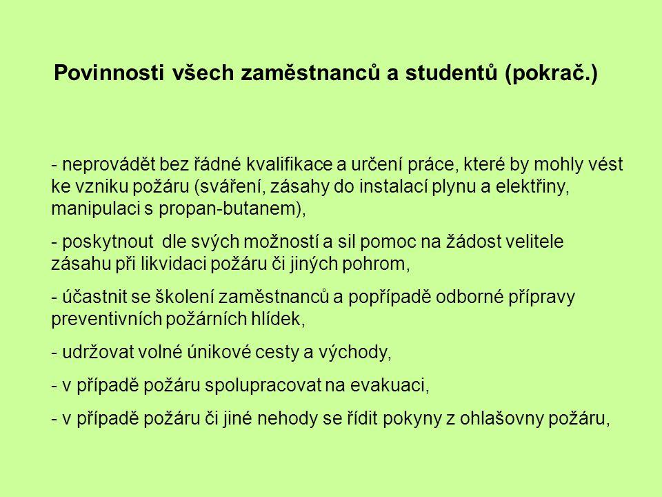 Povinnosti všech zaměstnanců a studentů (pokrač.)