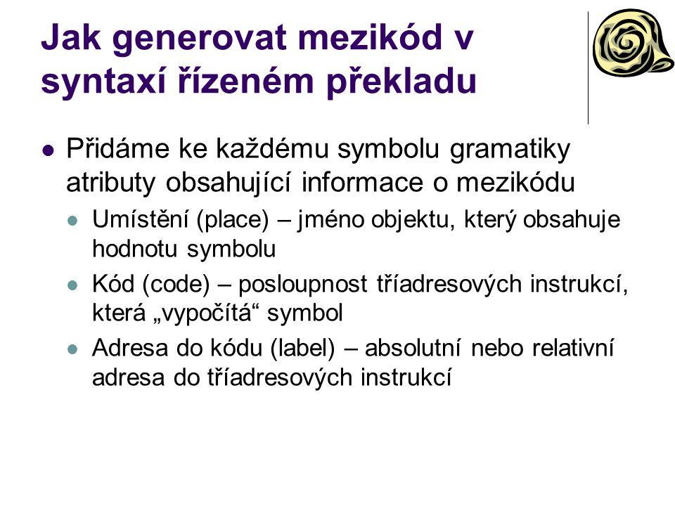 Jak generovat mezikód v syntaxí řízeném překladu