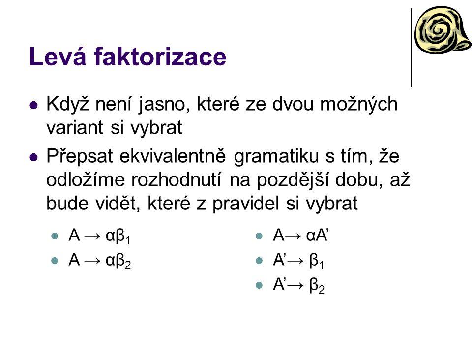 Levá faktorizace Když není jasno, které ze dvou možných variant si vybrat.