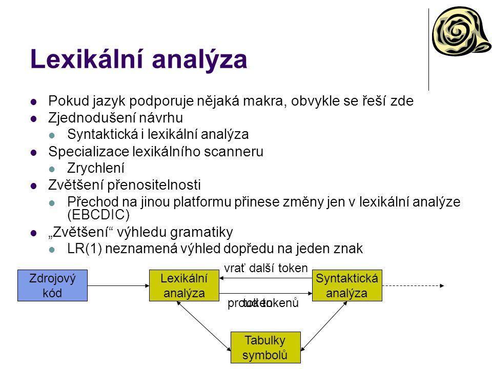 Lexikální analýza Pokud jazyk podporuje nějaká makra, obvykle se řeší zde. Zjednodušení návrhu. Syntaktická i lexikální analýza.