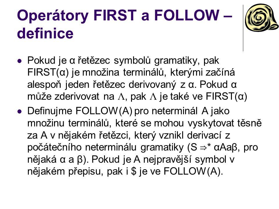 Operátory FIRST a FOLLOW – definice