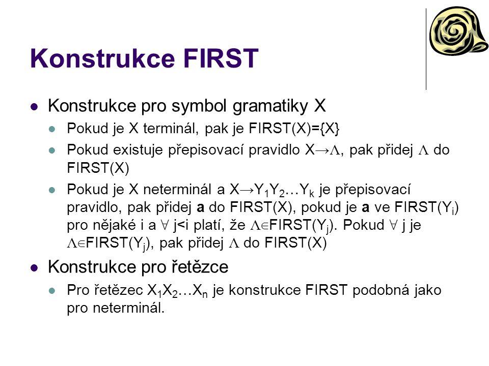 Konstrukce FIRST Konstrukce pro symbol gramatiky X