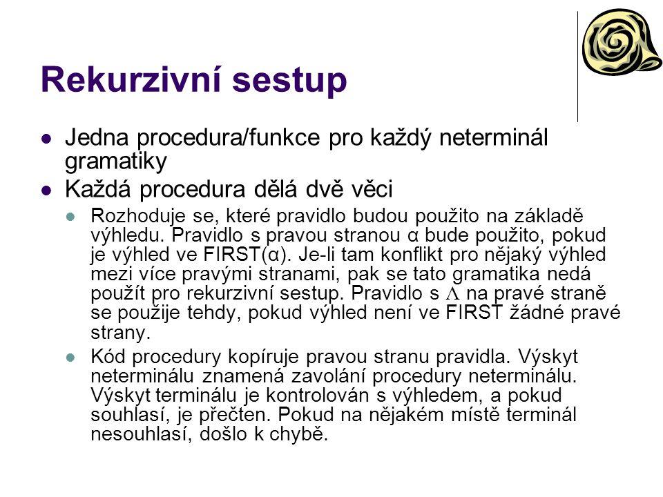 Rekurzivní sestup Jedna procedura/funkce pro každý neterminál gramatiky. Každá procedura dělá dvě věci.