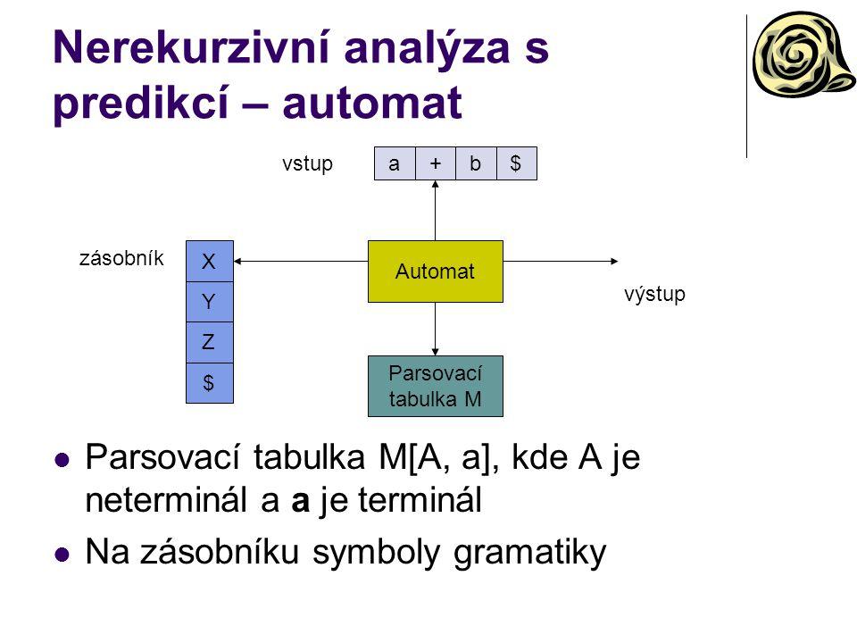 Nerekurzivní analýza s predikcí – automat