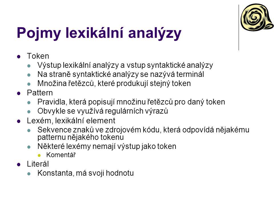 Pojmy lexikální analýzy