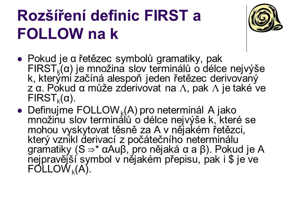Rozšíření definic FIRST a FOLLOW na k