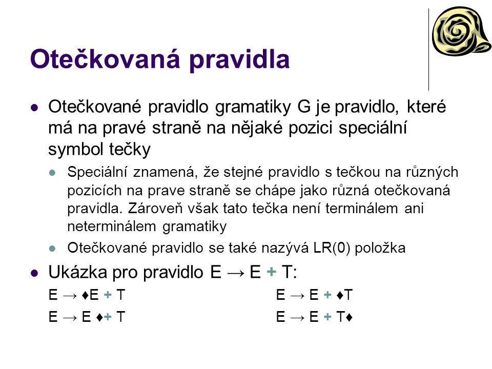 Otečkovaná pravidla Otečkované pravidlo gramatiky G je pravidlo, které má na pravé straně na nějaké pozici speciální symbol tečky.