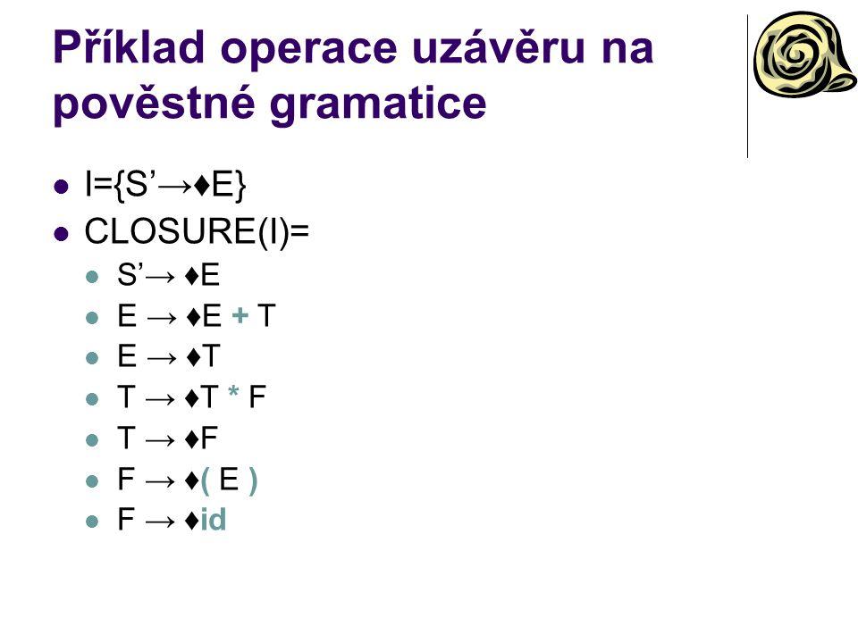 Příklad operace uzávěru na pověstné gramatice