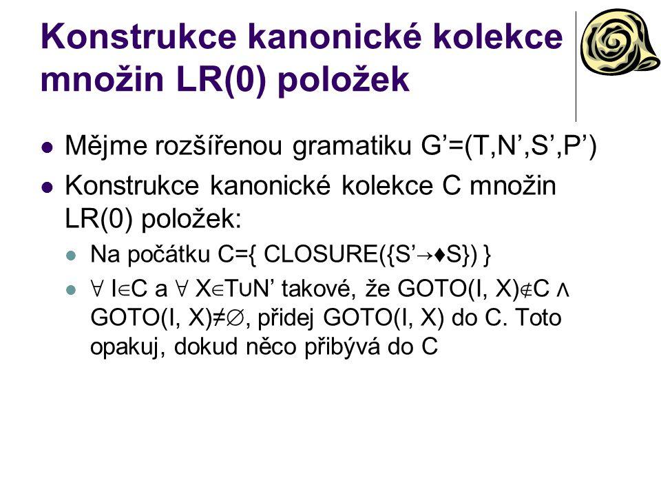 Konstrukce kanonické kolekce množin LR(0) položek